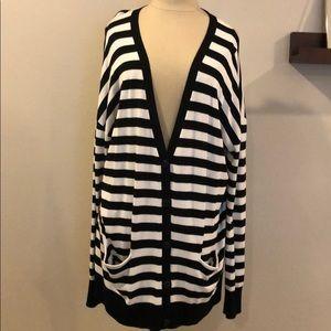 Black and white striped, V-neck cardigan.